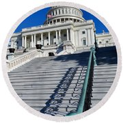 Capitol Hill Building In Washington Dc Round Beach Towel