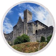 Carcassonne By Day Round Beach Towel