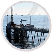 Carpinteria Pier Round Beach Towel