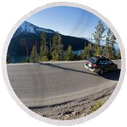 Cars Driving Along Hwy 89 Over Emerald Round Beach Towel