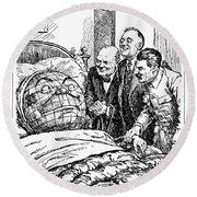 Cartoon: Big Three, 1945 Round Beach Towel