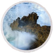 Carved By The Sea Round Beach Towel