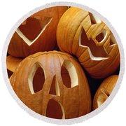 Carved Pumpkins Round Beach Towel