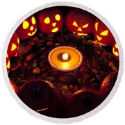 Pumpkin Seance With Pumpkin Pie Round Beach Towel