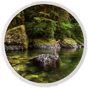 Cascade Locks, Oregon, Usa. A Woman Round Beach Towel