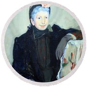Cassatt's Portrait Of An Elderly Lady Round Beach Towel