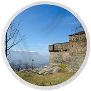 Castle And Trees Round Beach Towel