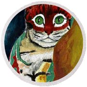 Cat Around Corner Round Beach Towel