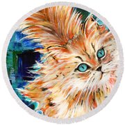 Cat Orange Round Beach Towel