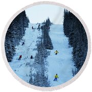 Cat Skiing At Fortress Mountain Round Beach Towel