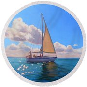 Catching The Wind Round Beach Towel