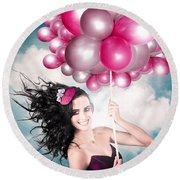 Celebration. Happy Fashion Woman Holding Balloons Round Beach Towel
