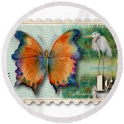 1 Cent Butterfly Stamp Round Beach Towel