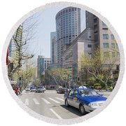 Central Shanghai In China Round Beach Towel