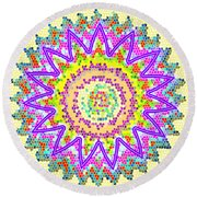Chakra Energy  Mandala Ancient Healing Meditation Tool Stained Glass Pixels  Live Spinning Wheel  Round Beach Towel