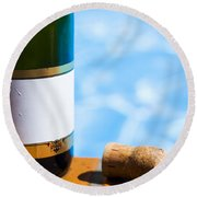 Champagne Bottle And Cork Round Beach Towel