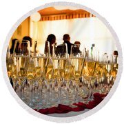 Champagne Glasses At The Party Round Beach Towel