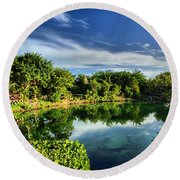 Chankanaab Lagoon Reflections Round Beach Towel