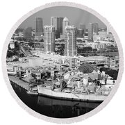 Channel District Tampa Florida Round Beach Towel