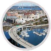 Charleston Waterfront And Marina South Carolina Round Beach Towel