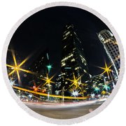 Charlotte Nc Usa - Nightlife Around Charlotte Round Beach Towel