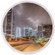 Charlotte Nc Usa Skyline During And After Winter Snow Storm In January Round Beach Towel