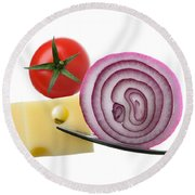 Cheese Onion And Tomato On Forks Against White Round Beach Towel