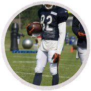 Chicago Bears Wr Chris Williams Training Camp 2014 01b Bw Round Beach Towel