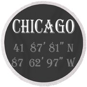 Chicago Coordinates Round Beach Towel