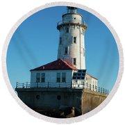 Chicago Harbor Lighthouse Round Beach Towel