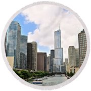 Chicago Panorama Round Beach Towel