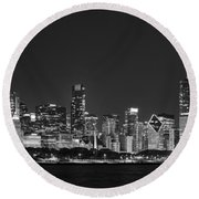 Chicago Skyline At Night Black And White Panoramic Round Beach Towel by Adam Romanowicz