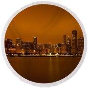 Chicago Skyline In Fog With Reflection Round Beach Towel