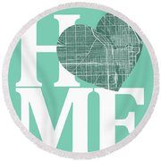Chicago Street Map Home Heart - Chicago Illinois Road Map In A H Round Beach Towel