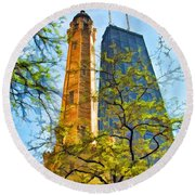 Chicago Water And Hancock Towers Round Beach Towel