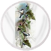 Chickadees And Blueberries Round Beach Towel
