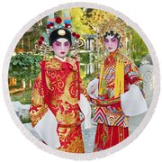 Children Dressed In Full Traditional Chinese Opera Costumes. Round Beach Towel