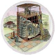 Chinese Astronomical Clocktower Built Round Beach Towel