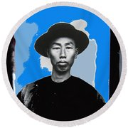 Chinese Man In Traditional Dress Circa 1882 Collage Tucson Arizona 1882-2013 Round Beach Towel
