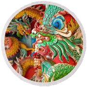 Chinese Temple Detail Round Beach Towel
