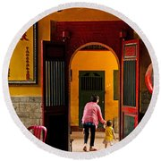 Chinese Temple In Ho Chi Minh Vietnam Round Beach Towel