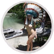 Chokoskee Island Fl. Indian 044 Round Beach Towel