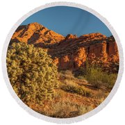 Cholla Cactus And Red Rocks At Sunrise Round Beach Towel