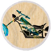 Chopper Art Round Beach Towel