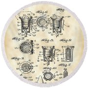 Christmas Bulb Socket Patent 1936 - Vintage Round Beach Towel