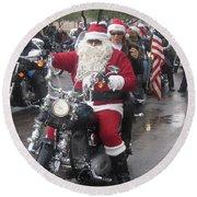 Christmas Toys For Tots Santa On Motorcycle Casa Grande Arizona 2004 Round Beach Towel