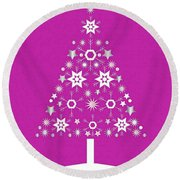 Christmas Tree Made Of Snowflakes On Pink Background Round Beach Towel