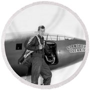 Chuck Yeager And Bell X-1 Round Beach Towel