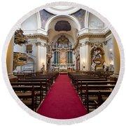Church Of Santa Barbara Interior In Madrid Round Beach Towel