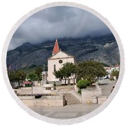 Church Of St.mark Makarska Round Beach Towel